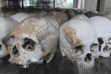 Skulls of victims of Pol Pot's concentration camps.